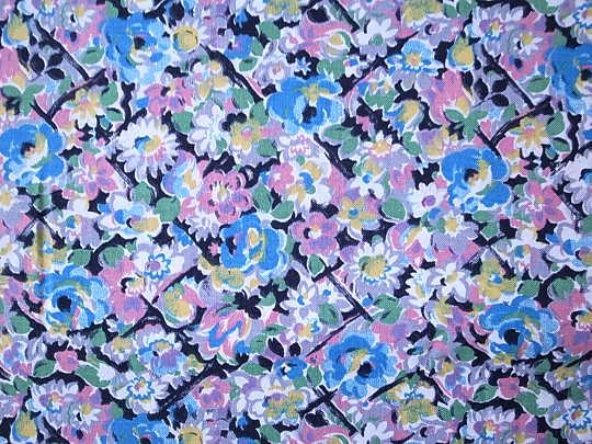 ベルギーのブルー系小花柄レーヨンファブリック W83×90cm 1970年代 gf-223
