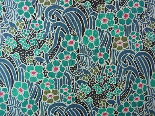 シルクデシン ブルー系のお花 W140×50cm gf-248