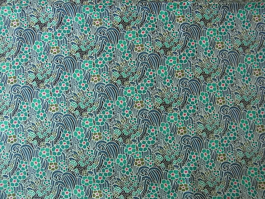 シルクデシン ブルー系のお花 W140×50cm gf-249