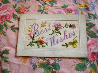 アンティーク刺繍カード 1914-18年 Best Wishes gx-080
