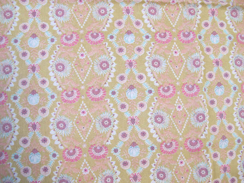 ベージュにピンクとブルーのファブリック 1960年代 110×50cm単位 gf-365