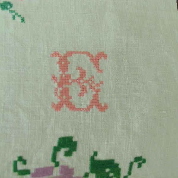 ハンガリーのアンティーククロスステッチ刺繍リネン 69×48cm ge-449