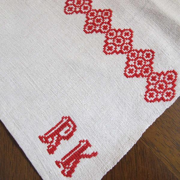 ハンガリーのアンティーククロスステッチ刺繍リネン お花 94×48cm ge-456