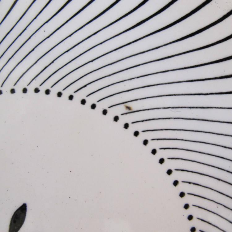 アンティークのフランスのモノクロ手描きプレート 17.5cm gc-408
