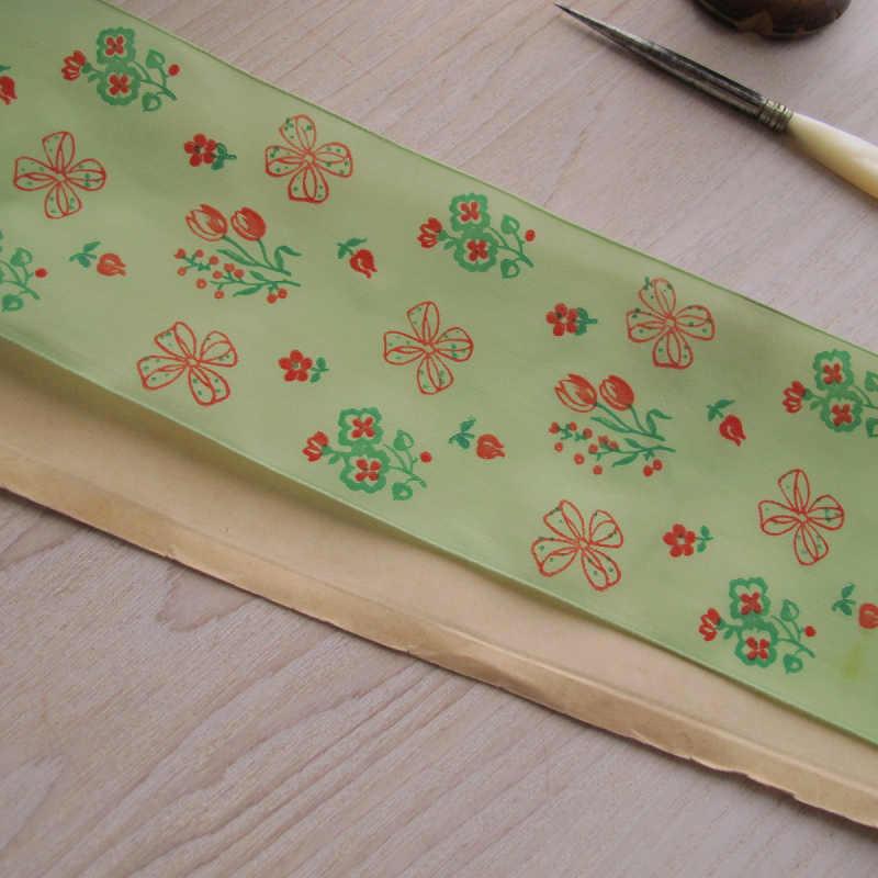 若草色にチューリップやリボン柄の春らしいレーヨンのリボン W6.8×100cm gs-942