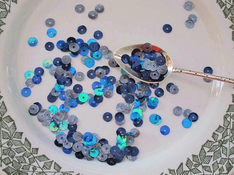 ヴィンテージスパンコール ブルーとグレーミックス 3g gs-963
