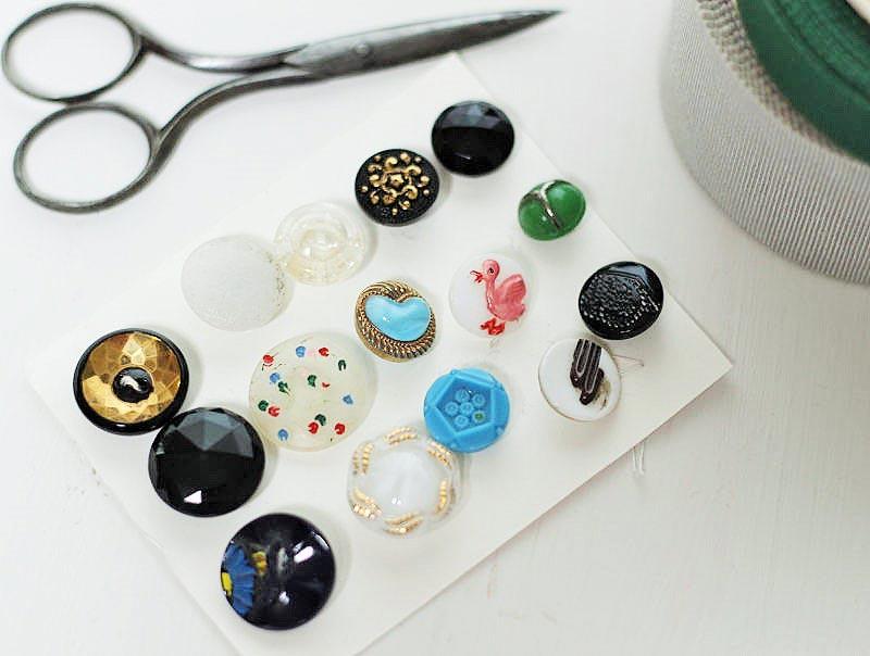 アンティークガラスボタン色々 12〜1.8cm gs-975
