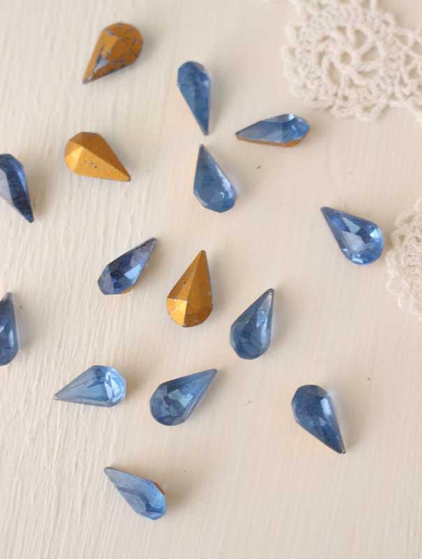 アクセサリーガラスパーツ ブルー3個セット 10×6mm gs-981