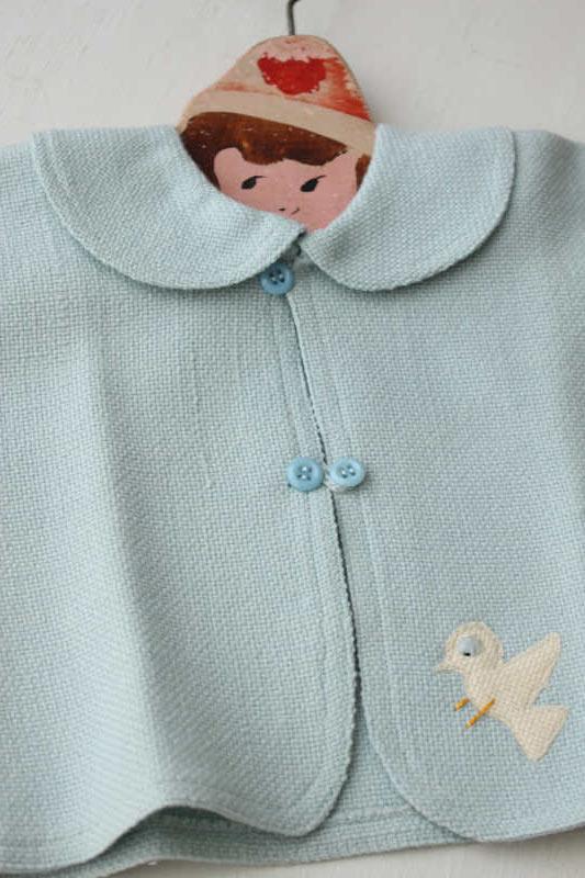 ウールの一重仕立ての子供用ジャケット 小鳥付き gd-145