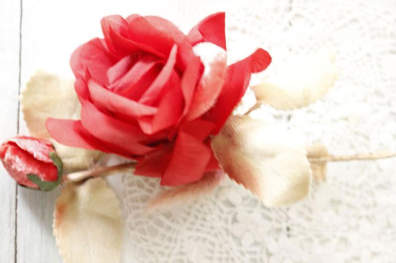 ヴィンテージ薔薇の布花コサージュ ga-422