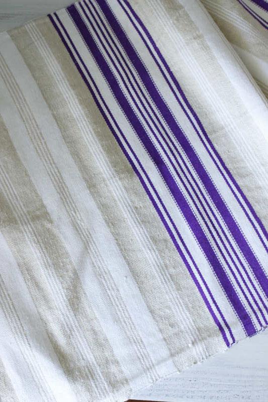 ハンガリー手織リネン パープルとページュと生成りストライブ48×100cm gli-0196