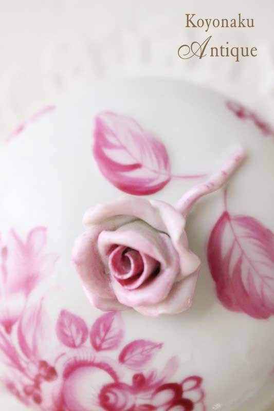 ヘレンドのピンクの薔薇のボンボン入れ gc-535