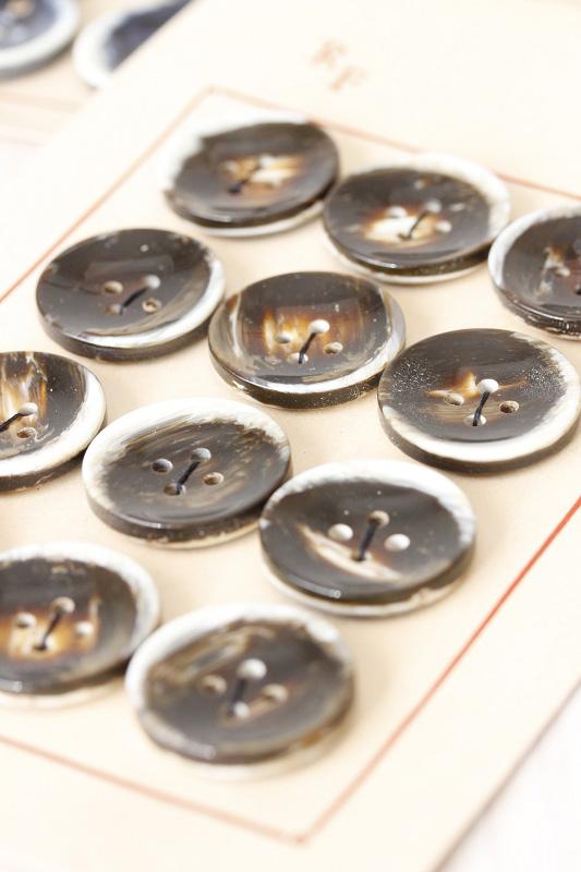 ヴィンテージのシェルのようなプラスティックボタン ブラウン直径3cm gs-1023