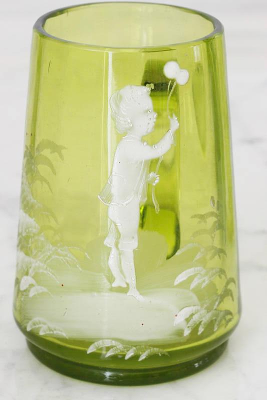 アンティーク ポーランドのガラスにエナメルのハンドペイント子供のピッチャーW5.5×9.8 gc-567