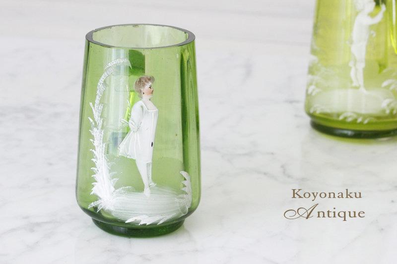 アンティーク ポーランドのガラスにエナメルの乙女のピッチャーW5×9.4 gc-567