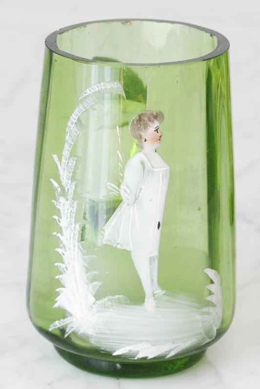 アンティーク ポーランドのガラスにエナメルの乙女のピッチャーW5×9.4 gc-566