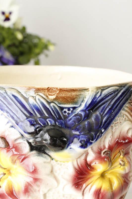 バルボティーヌのツバメとお花の鉢カバー W18×H17cm gc-583