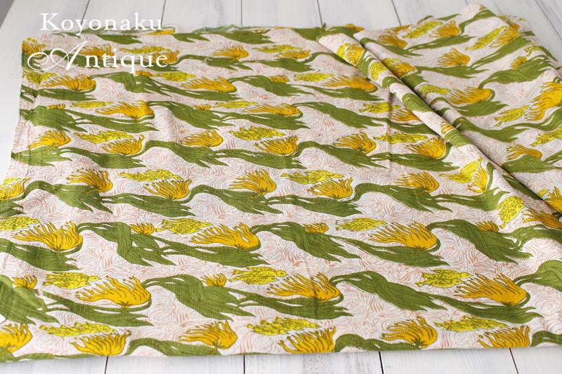 イギリスのコットンファブリックお花に集まる小鳥 1950年代頃 106×50cm gf-467