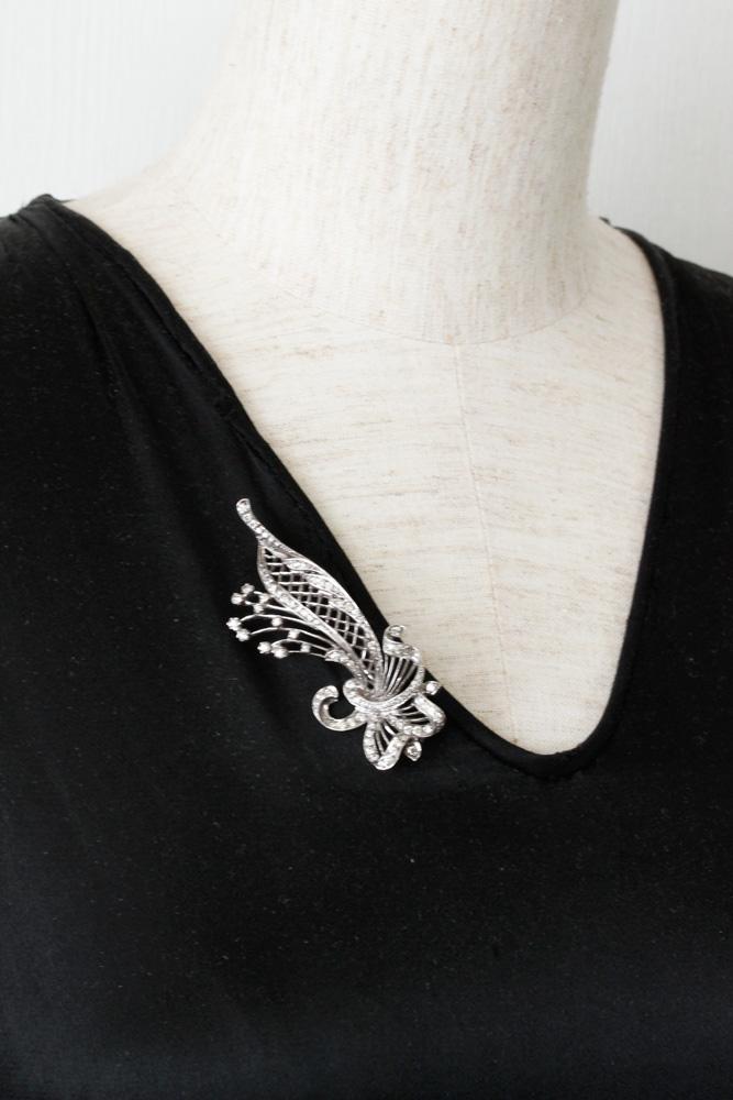 シルバーにグラスストーンのお花ブローチ 1930-50年代頃 ga-566