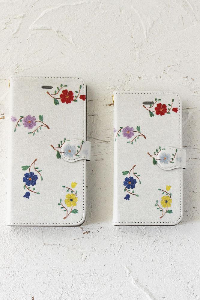 こよなくフォークロア刺繍プリントiPhoneケース【手帳型】小花 go-001