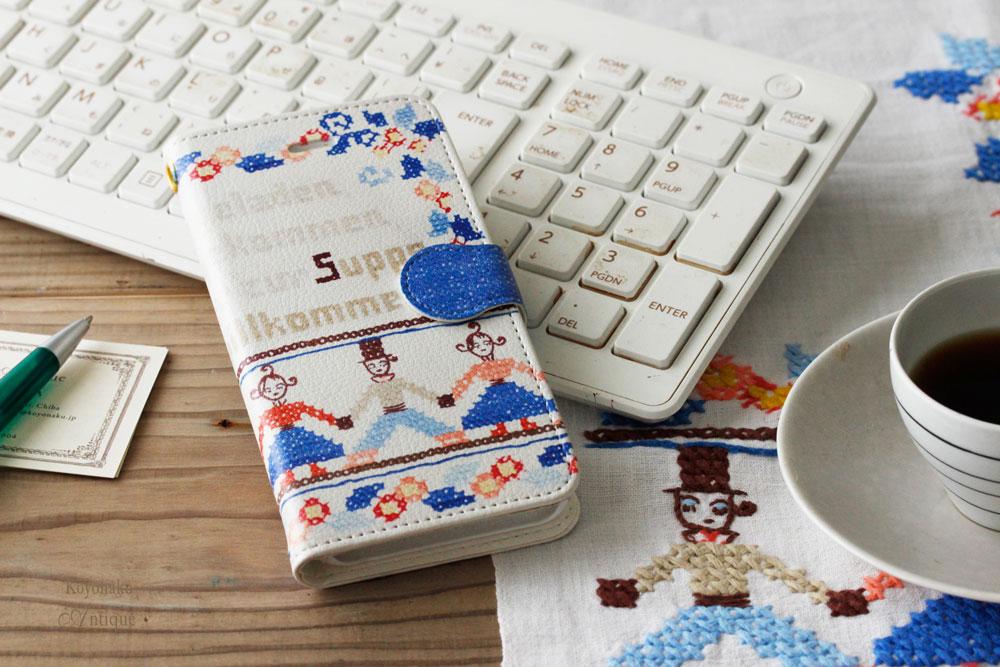 こよなくフォークロア刺繍プリントiPhoneケース【手帳型】なかよし go-001
