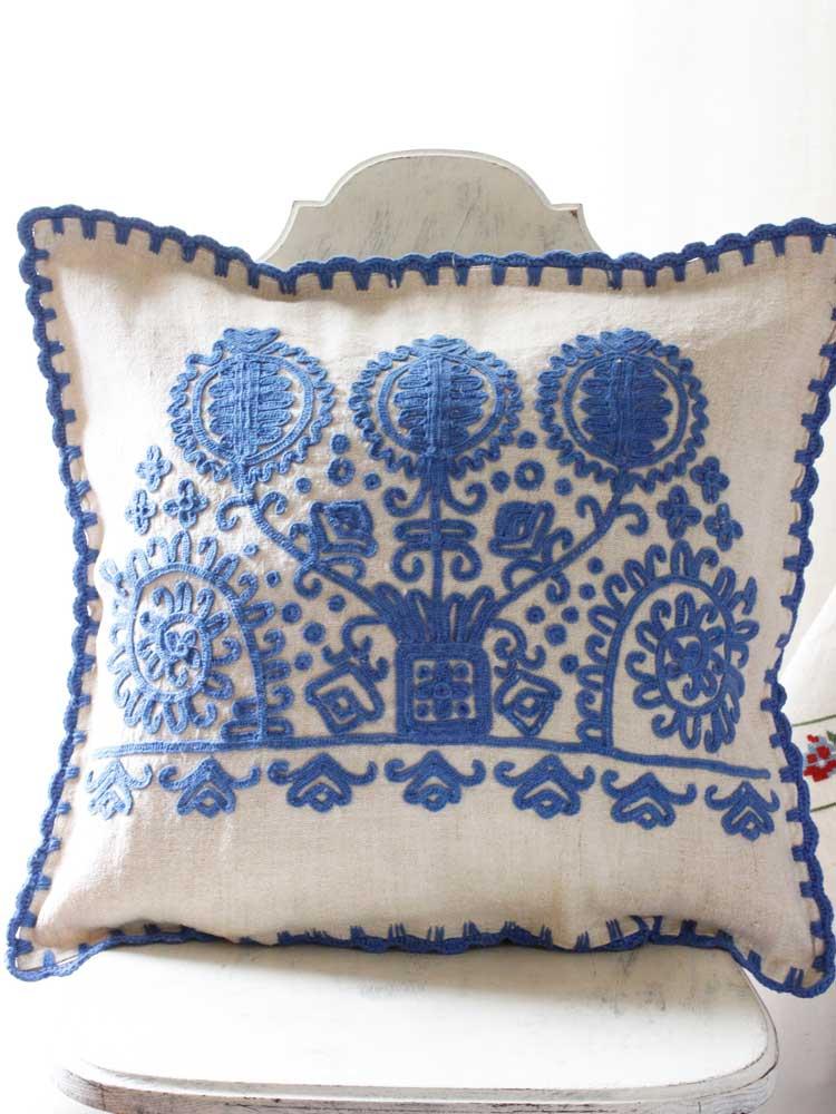 トランシルバニアのイラーショシュブ ルー糸刺繍のピロケース ge-656