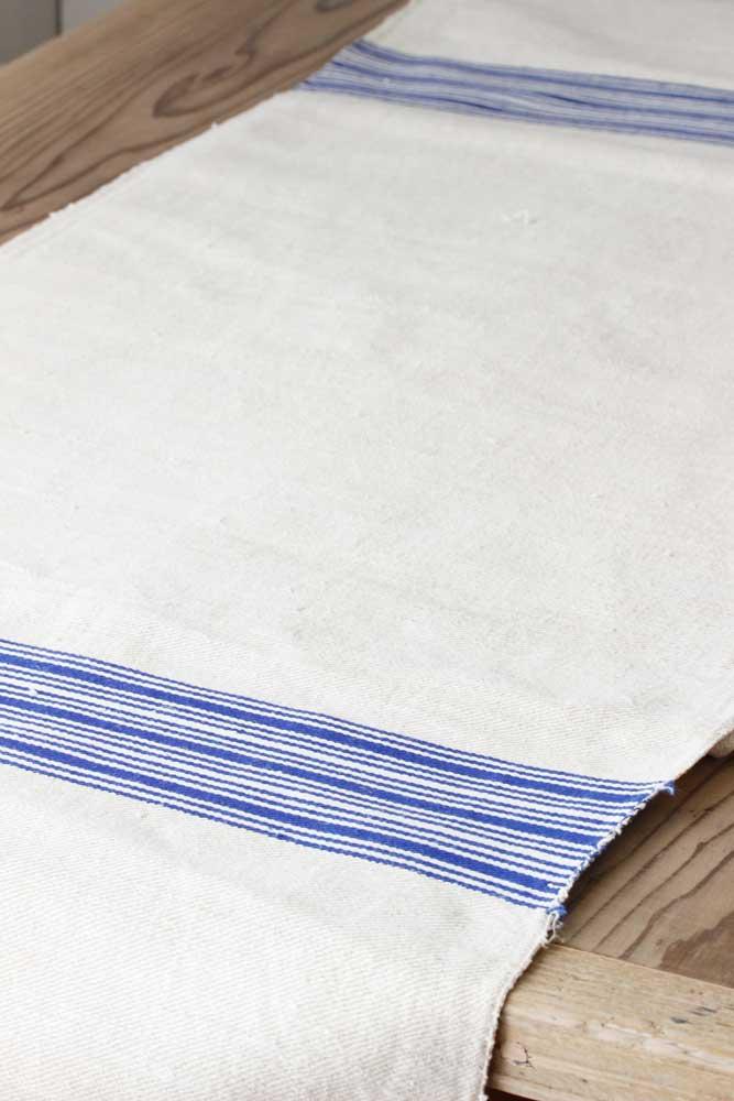 ハンガリー手織リネン ブルーとページュと生成りストライブ 43×100cm gli-0210