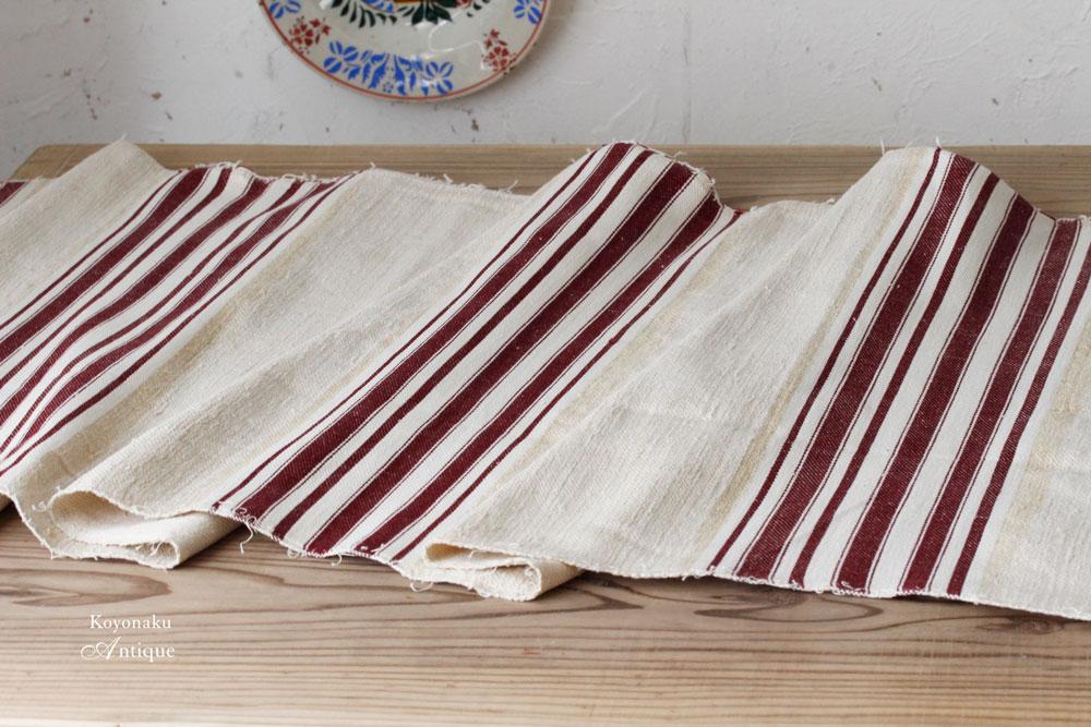 ハンガリー手織リネン あずき色と白のストライブに生成り色の地色リネン48×100cm gi-0213