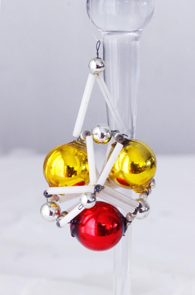 アンティークのチェコのガラスクリスマスオーナメント レッド&ゴールドのボール gx-254