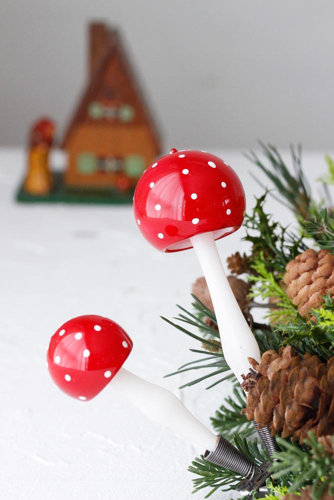ヴィンテージチェコのきのこのガラスクリスマスオーナメント gx-258