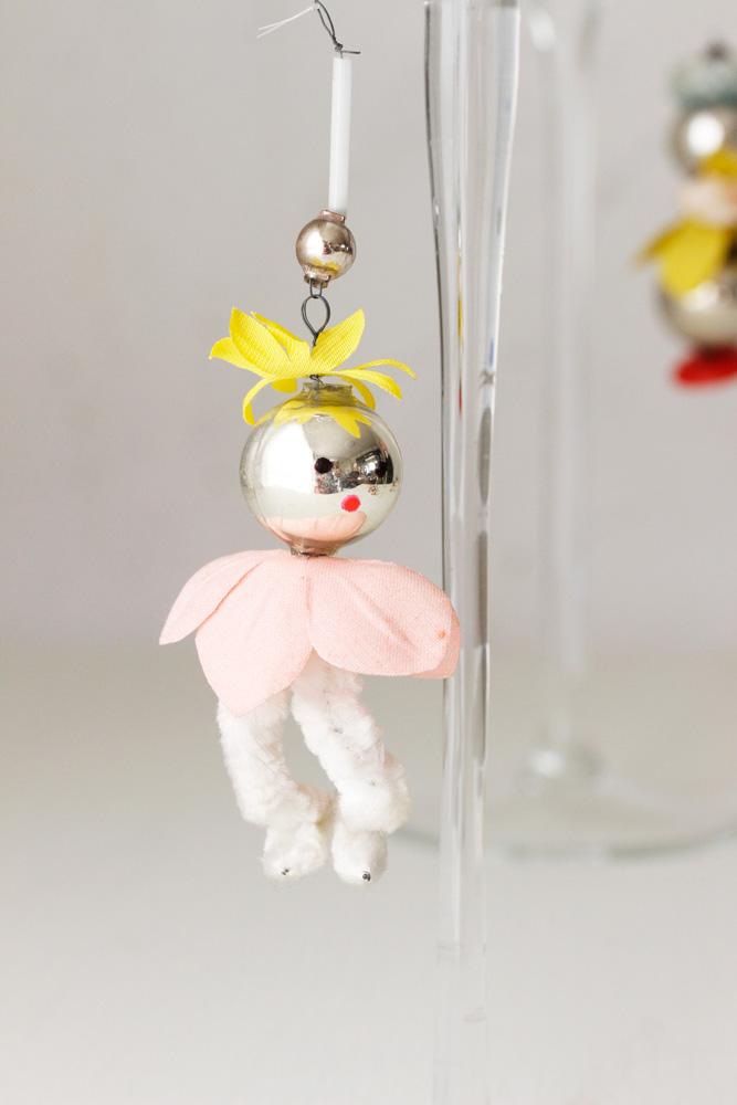 アンティークチェコのガラスとモールのオーナメント ピンク花の精 gx-265