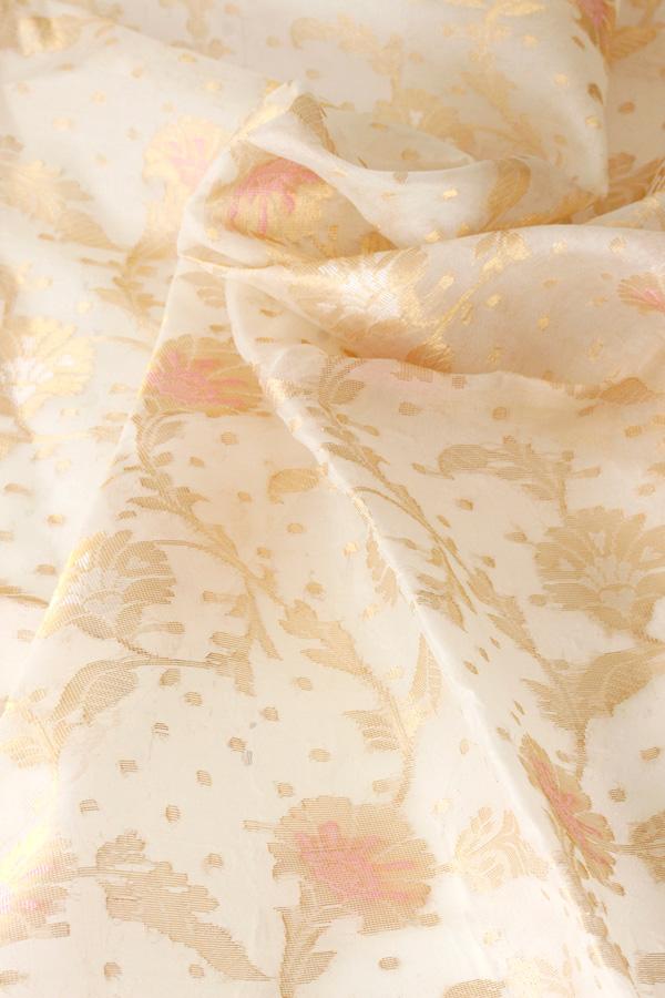 ゴールドとピンクのお花がゴージャスなオーガンジーファブリックW112×50cm gf-530