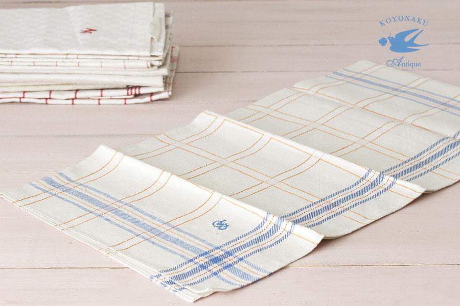 アンティークドイツリネンキッチンタオルモノグラム刺繍入り W56×57cm gli-0232