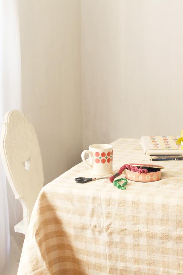 アンティークハンガリー手織りリネン チェックのテーブルクロス134×226cm gli-0235
