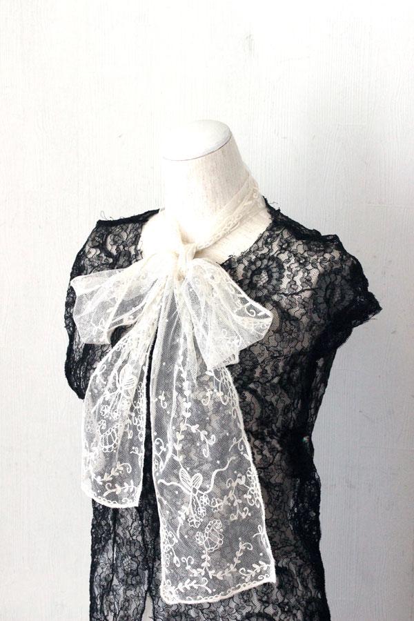 アンティークのニードルランレーススカーフ 15×176cm gla-0784