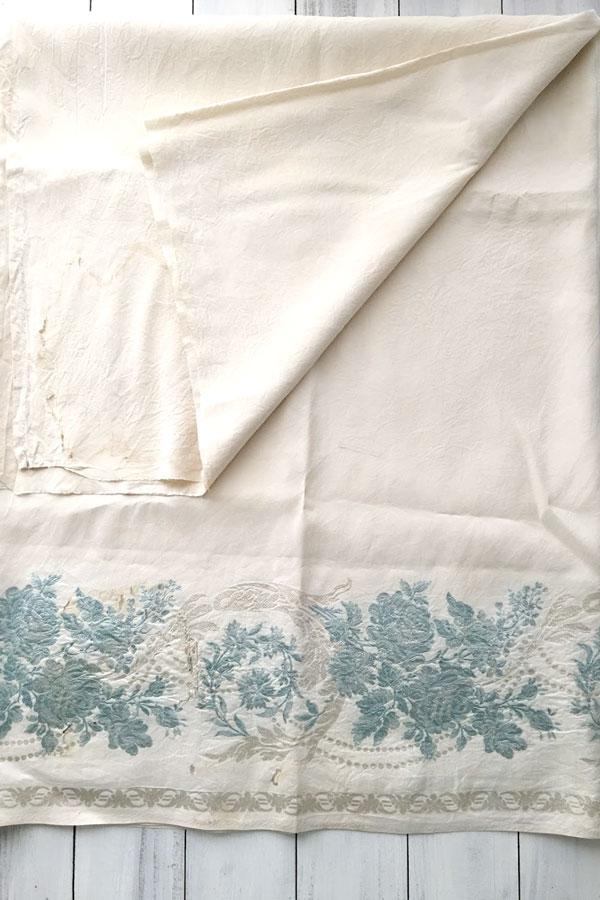 アンティークのシルク薔薇の織りカーテンファブリック 120×240cm 19C後半頃 gf-540