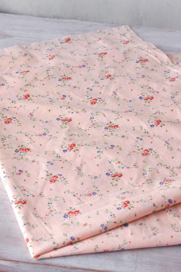 アンティークフレンチピンク小花柄コットンファブリック W80×45cm gf-543