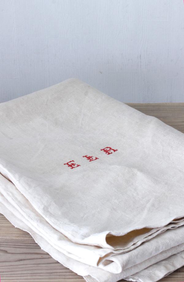 アンティークフレンチリネンシーツモノグラム入り274×170cm gli-0250