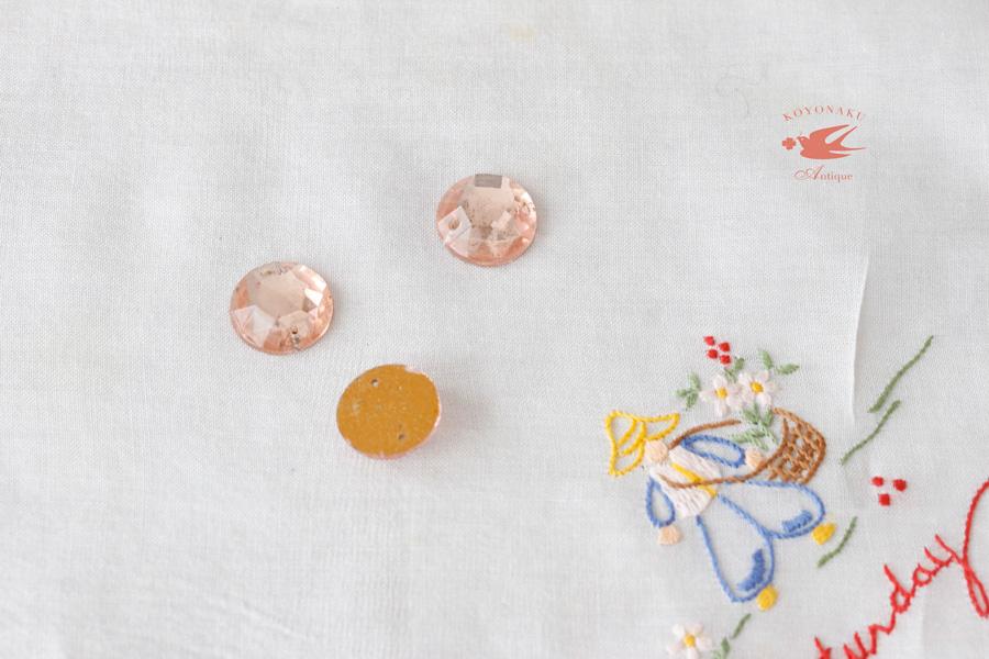 ヴィンテージピンクの円形ガラスストーンビーズ3個セット gs-1126