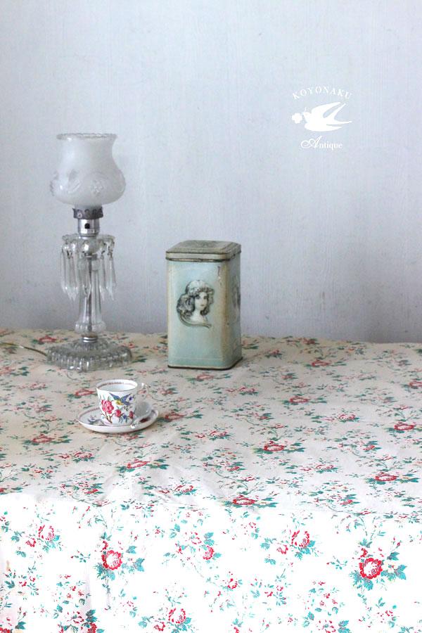 アンティーク薔薇柄のフレンチコットンカーテンW130×L148cm gf-572