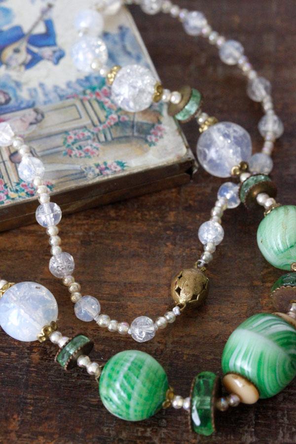 ヴィンテージグリーンのベネチアンガラスとビーズネックレス45cm ga-653