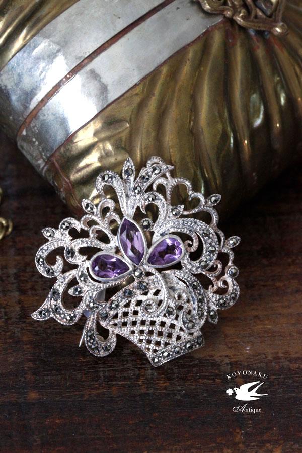 ヴィンテージのシルバーにマーカサイト&ガラスストーンの花籠のブローチ4.3×4.8cm ga-662
