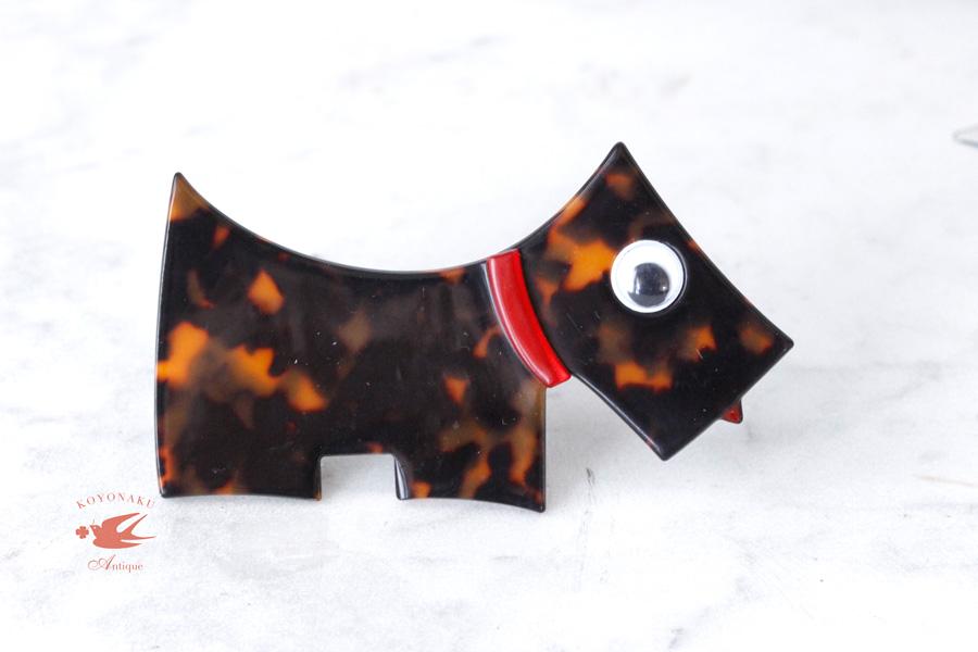 ベークライトのべっこう色犬のブローチ1940−50年代 W8.9×H4.6cm ga-665