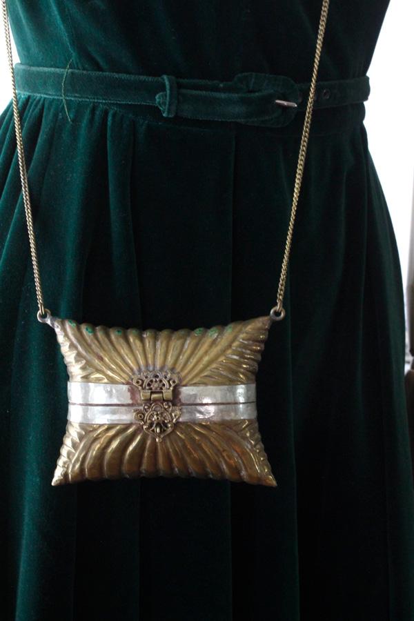 アンティークの真鍮のバッグ1930-40年代頃 gb-273