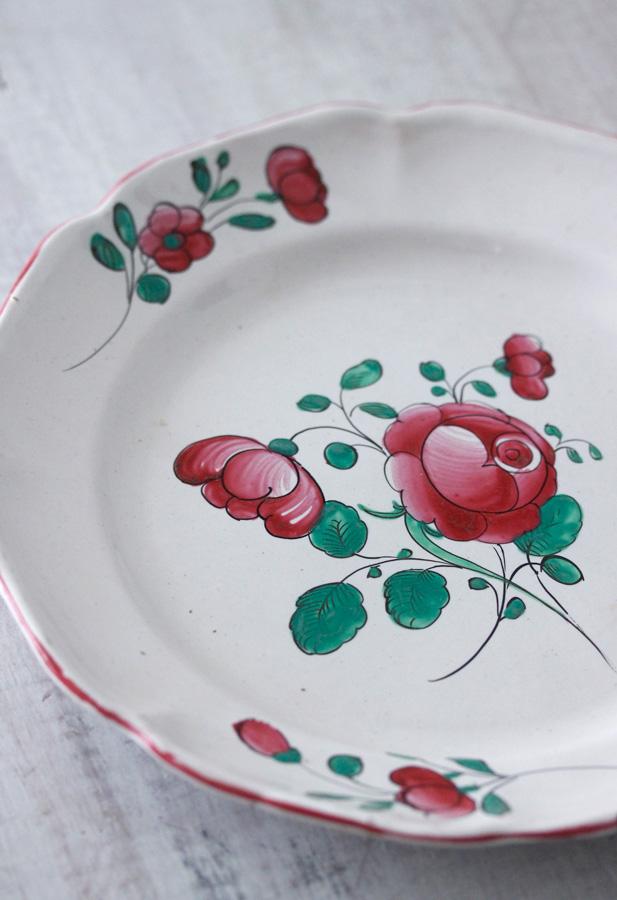 アンティークフランス薔薇のプレートW22cm 1900年代頃 gc-678