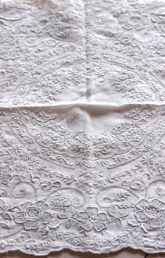 ヴィンテージ汕頭刺繍ハンカチ27×27.5cm ge-721