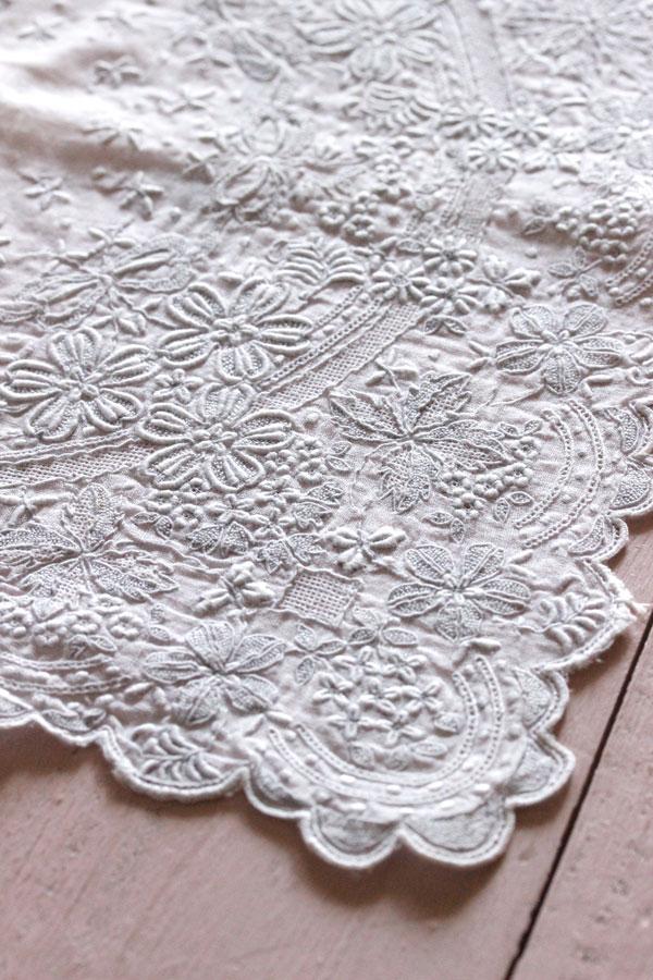 ヴィンテージ汕頭刺繍ハンカチ27×27.5cm ge-723