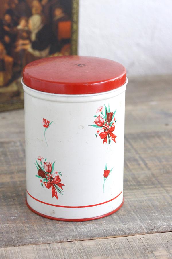 赤とクリーム色にちゅりっぷのブーケが可愛いキャニスターW10.7×H15.2cm gk-449