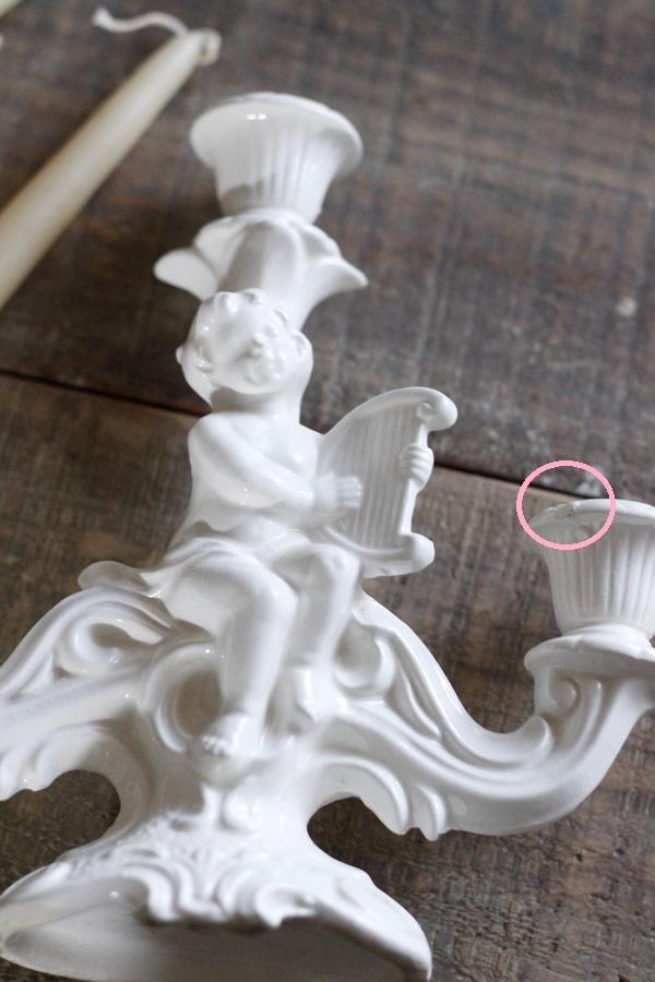 アンティークの竪琴を持った天使のキャンドルスタンド H 20cm gk-454