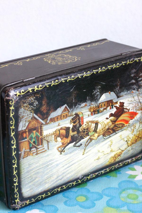 ヴィンテージ クリスマスのティン缶 26×17×10cm gk-458